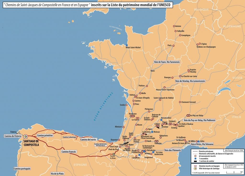 Carte des chemins de Saint Jacques de Compostelle. Source ACIR Compostelle 2016.